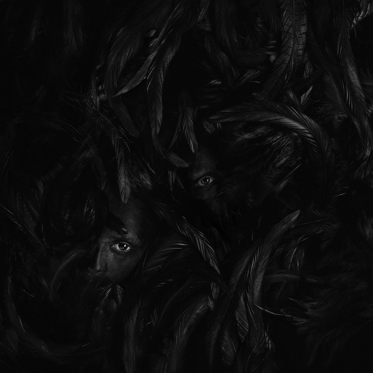 """Black faces lost in a sea of black feathers. Photograph by Greta Do called """"Silence"""""""""""