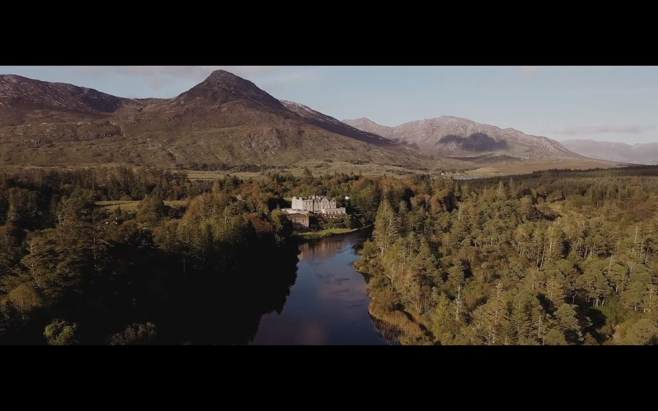 Drone view from Wedding Venue in Connemara by IPPVA videographer Gavin Gallagher