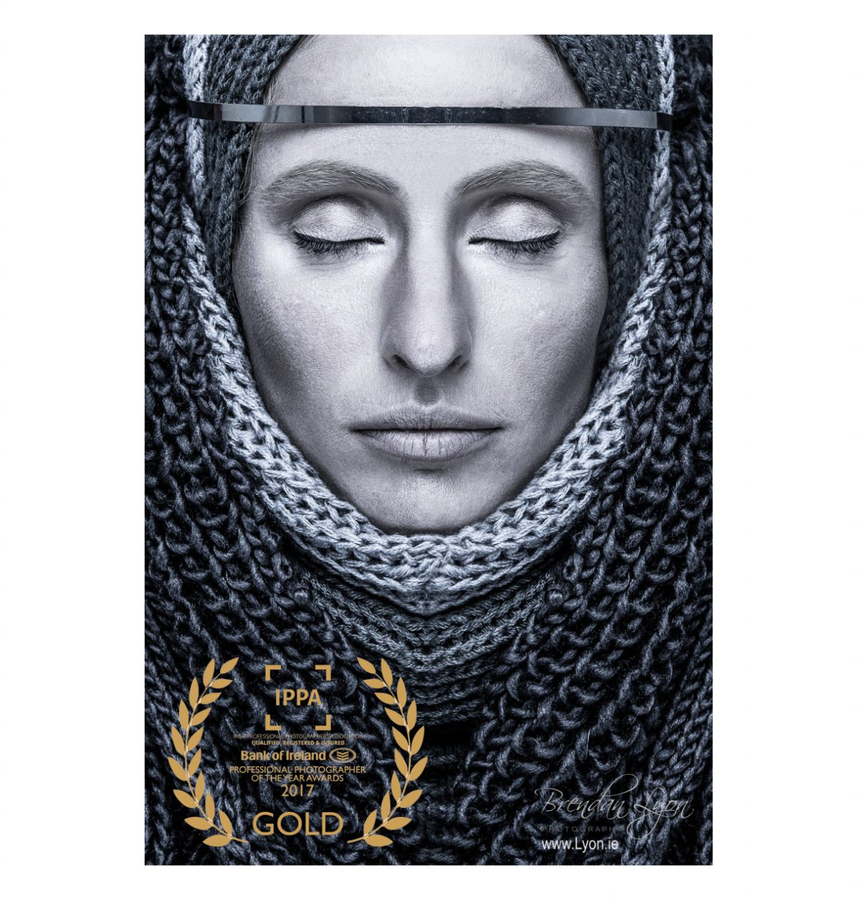 award winning monochrome image of medieval woman, with closed eyes, in chainmail clothing
