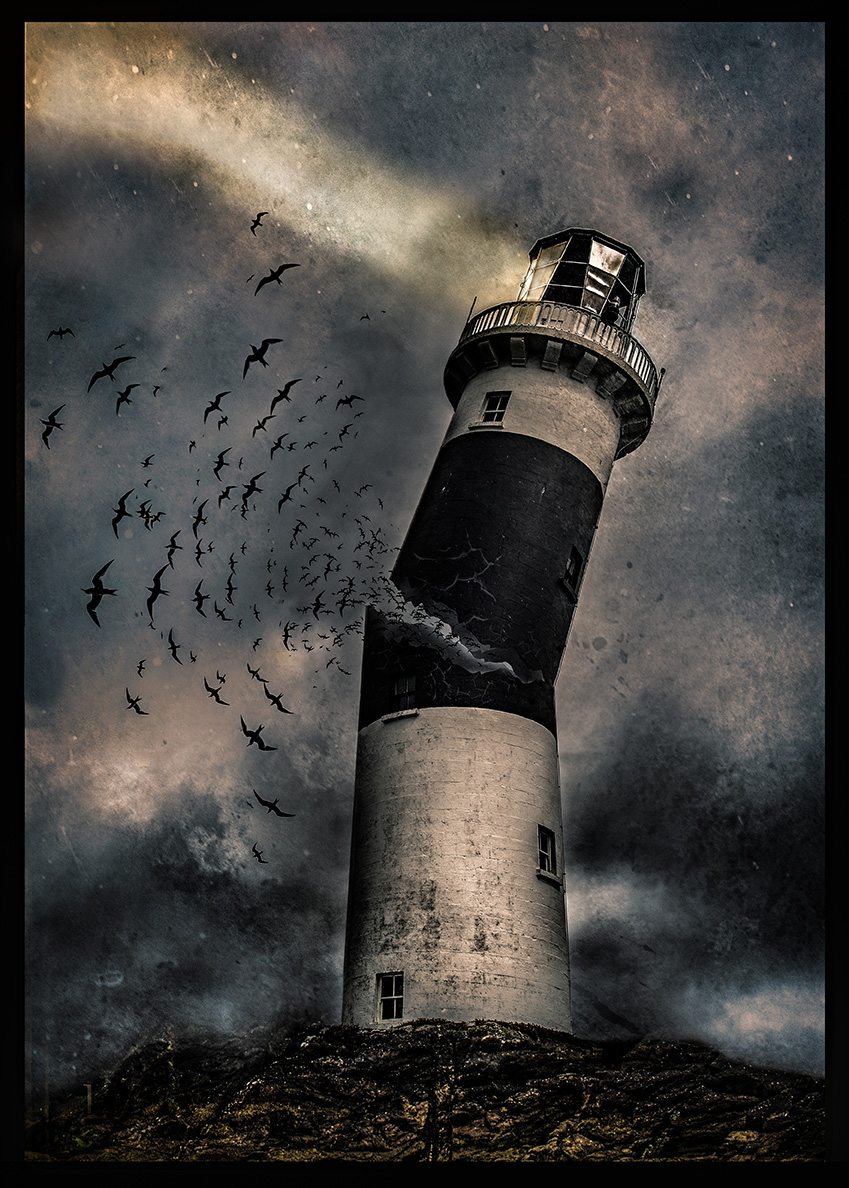 fine art image depicting a lighthouse breaking in half surrounded by birds