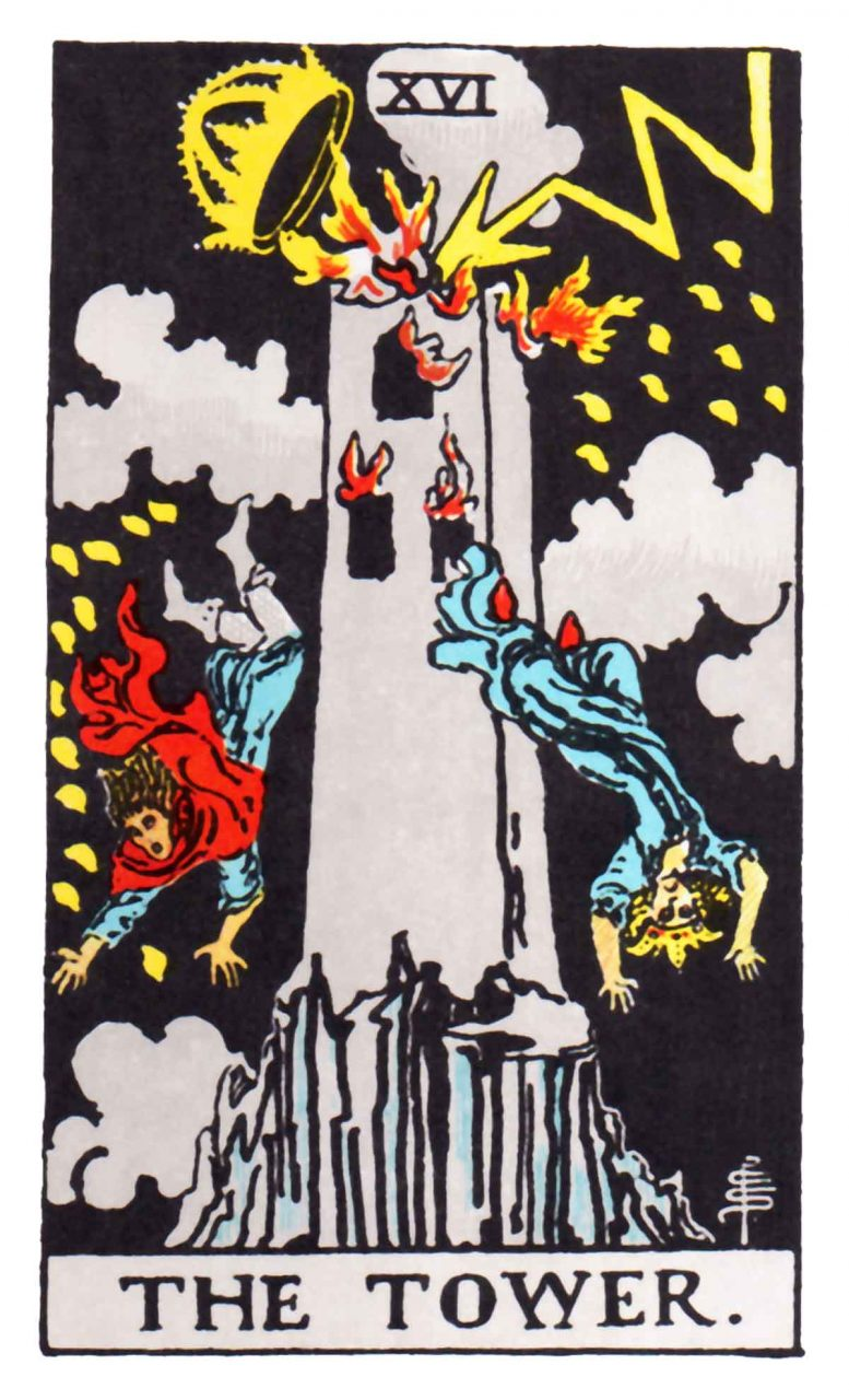 a tarot card depicting The Tower