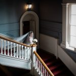 bride on a stairs