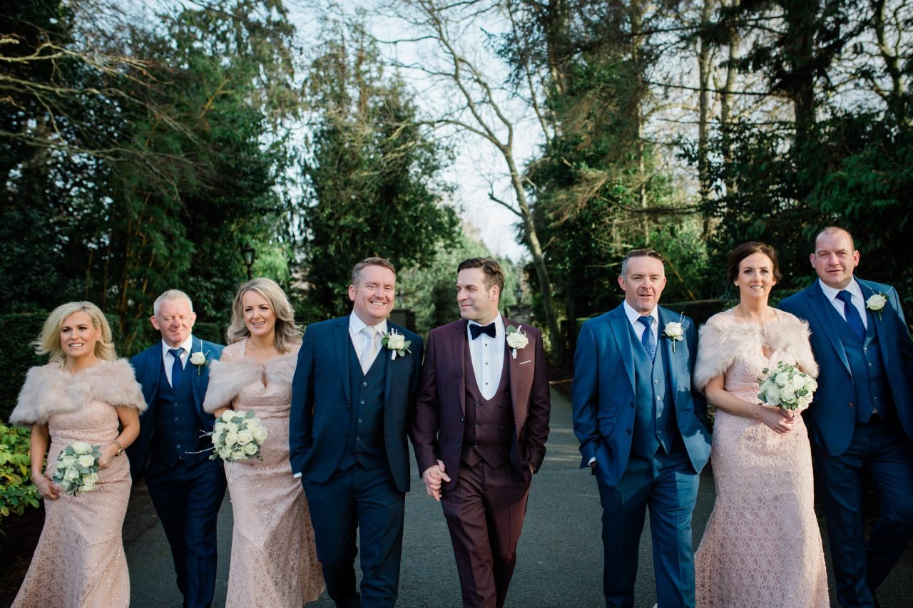 Bridal party with two groomsmen