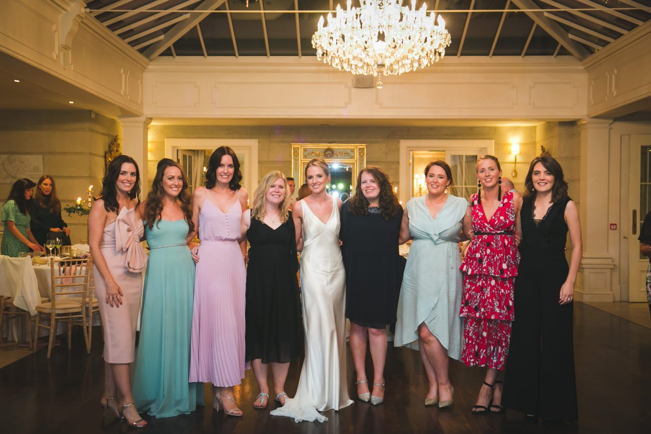 small group of women at a wedding reception