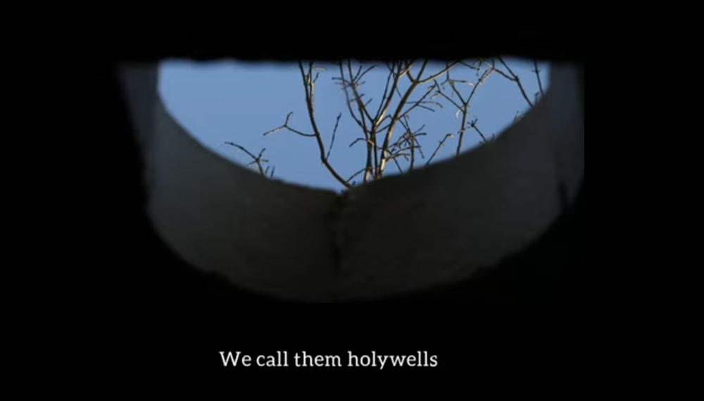 """still image from a video of a reflection in a well of a bare tree. There are subtitles at the bottom that say """"we call then Holy Wells"""""""